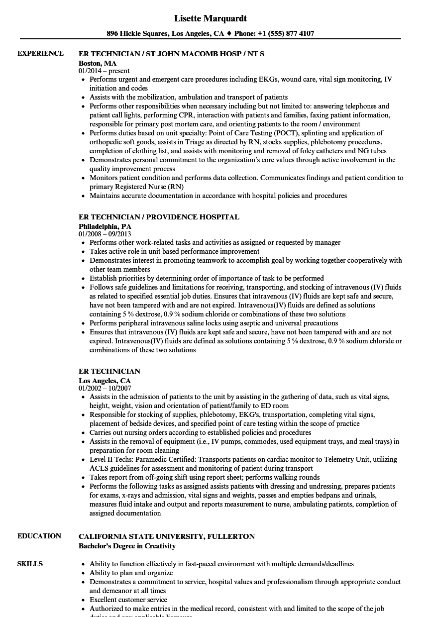 resume examples for a technician