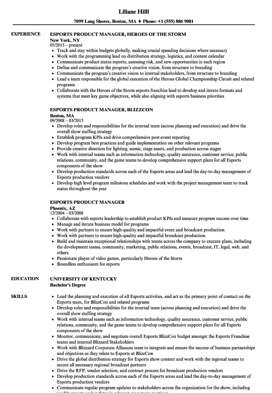 esports resume template