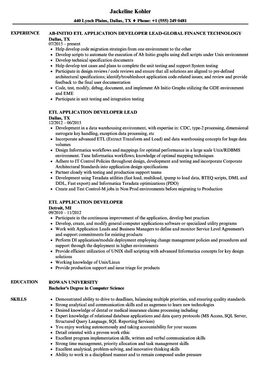 resume developer sample