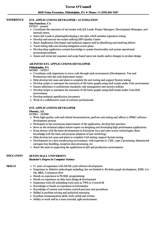 informatica etl developer sample resume