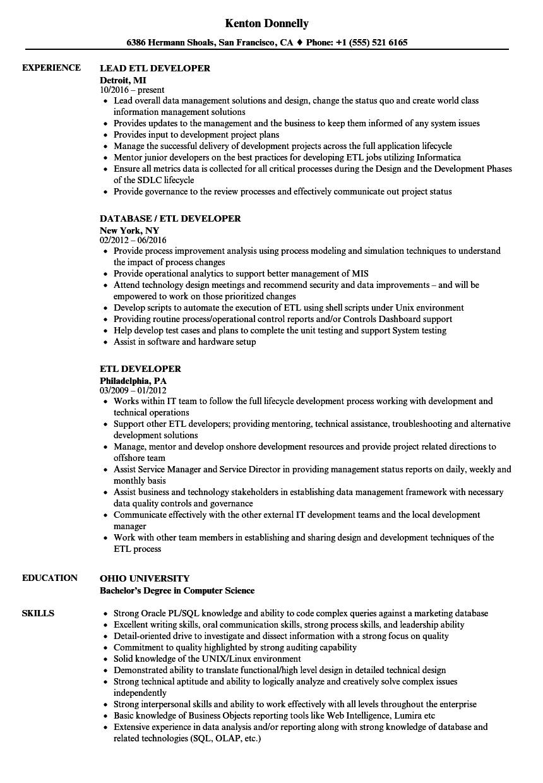 sample informatica developer resume
