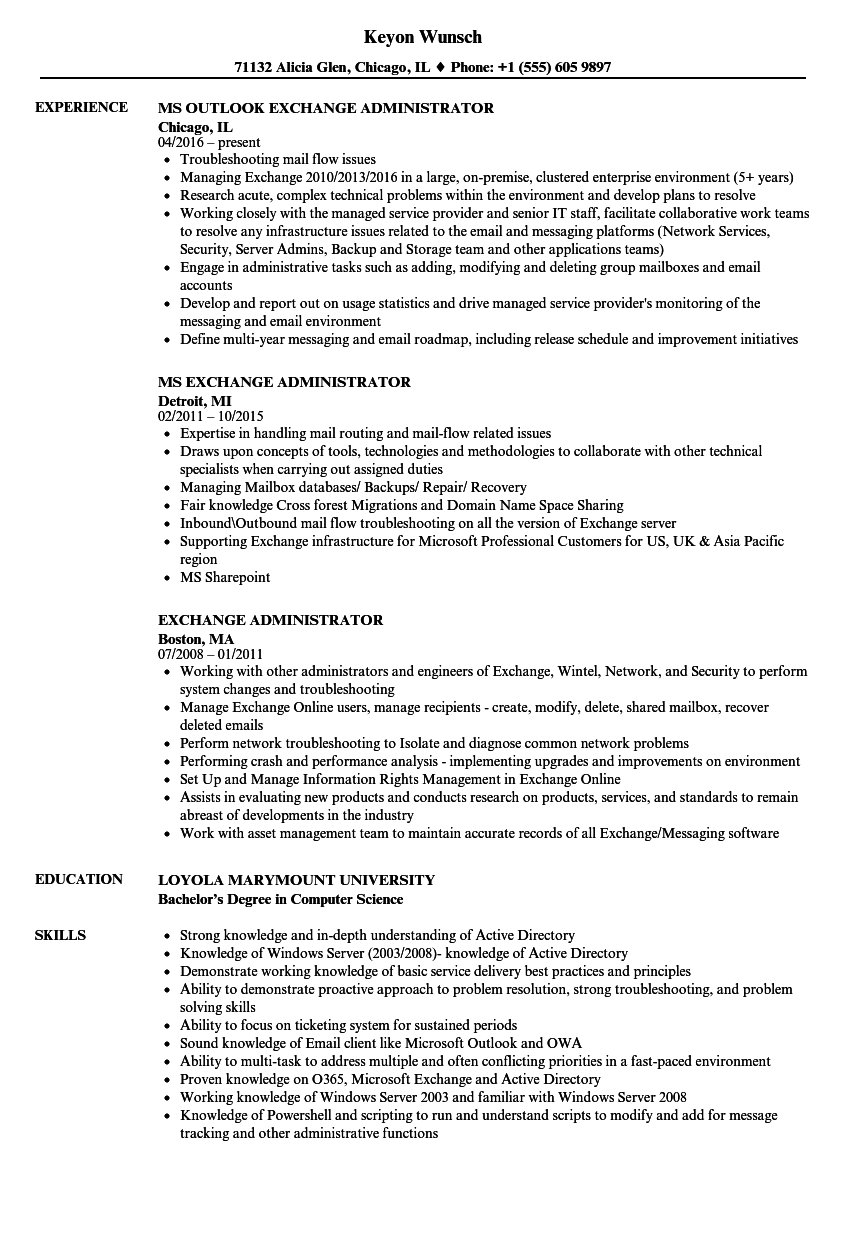 exchange server resume examples