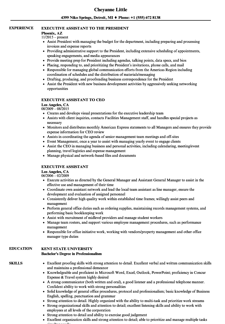 resume for executive assistant to ceo