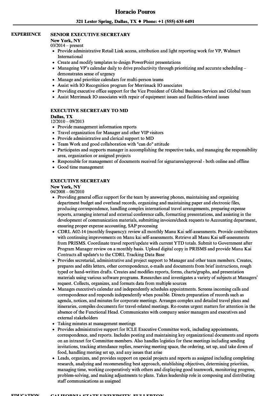executive secretary resume sample