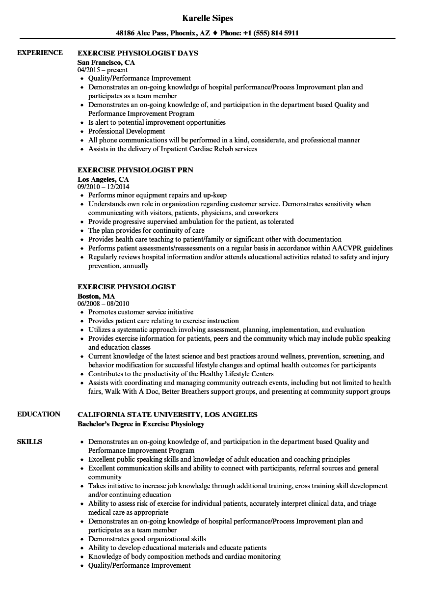 exercise physiologist resume samples