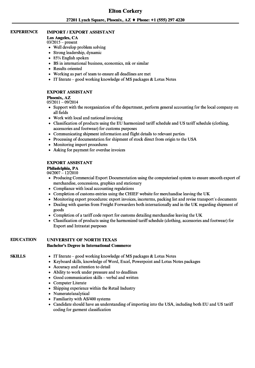 sample cv assistant commercial export