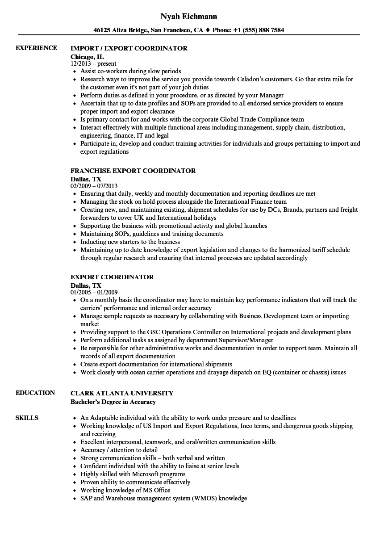 export coordinator letter of resume sample