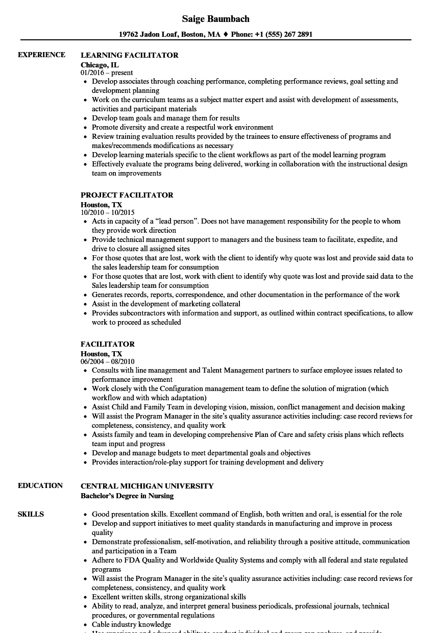cv example training facilitator