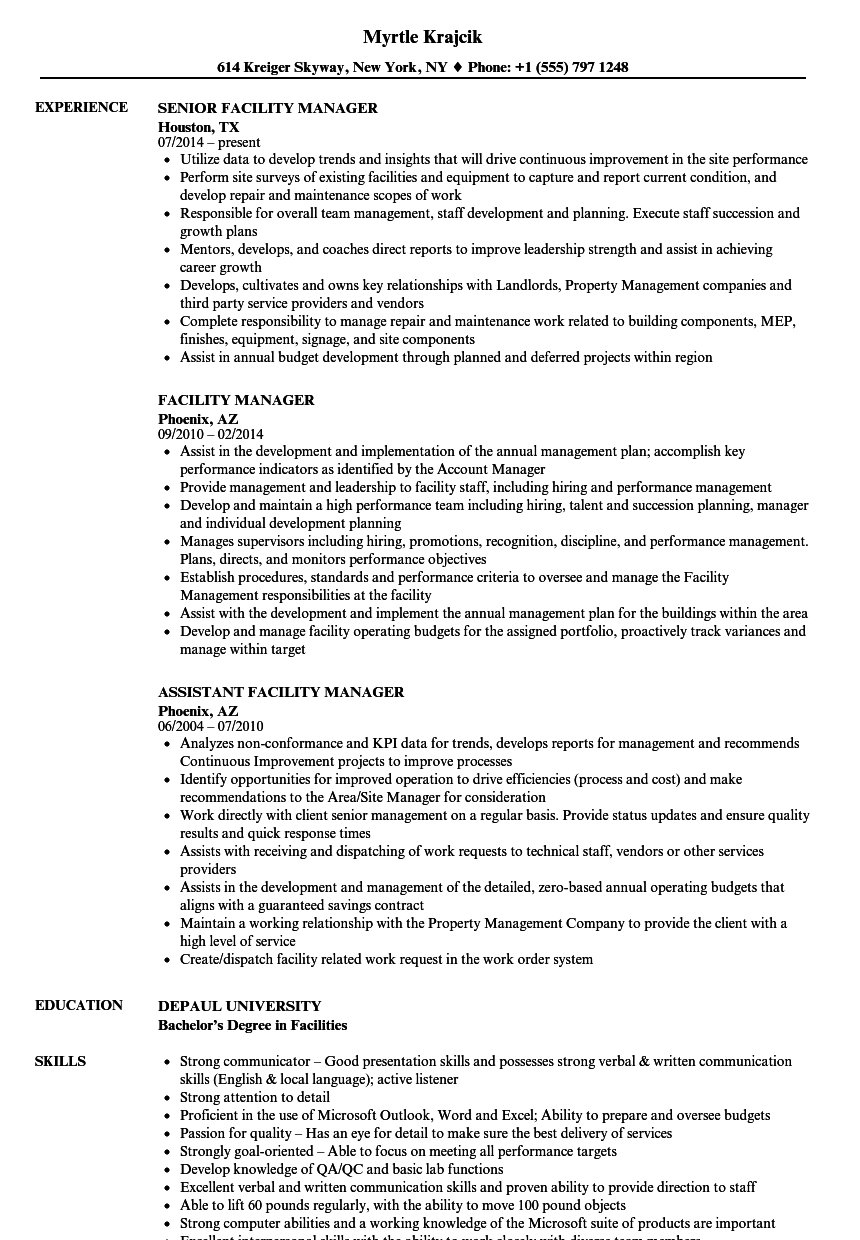 sample resume for facility project manager