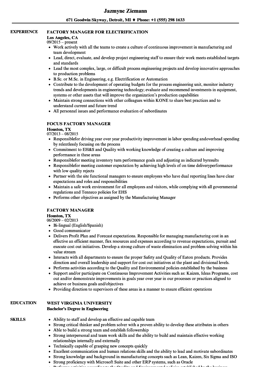 factory supervisor resume examples