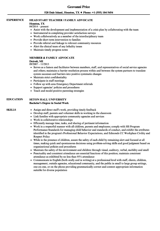 family advocate resume sample