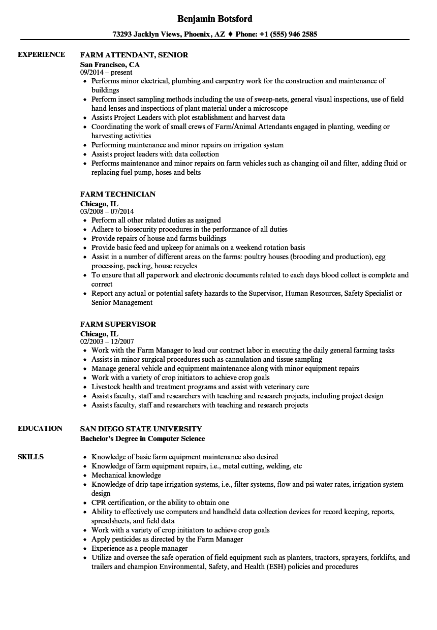 poultry job resume examples