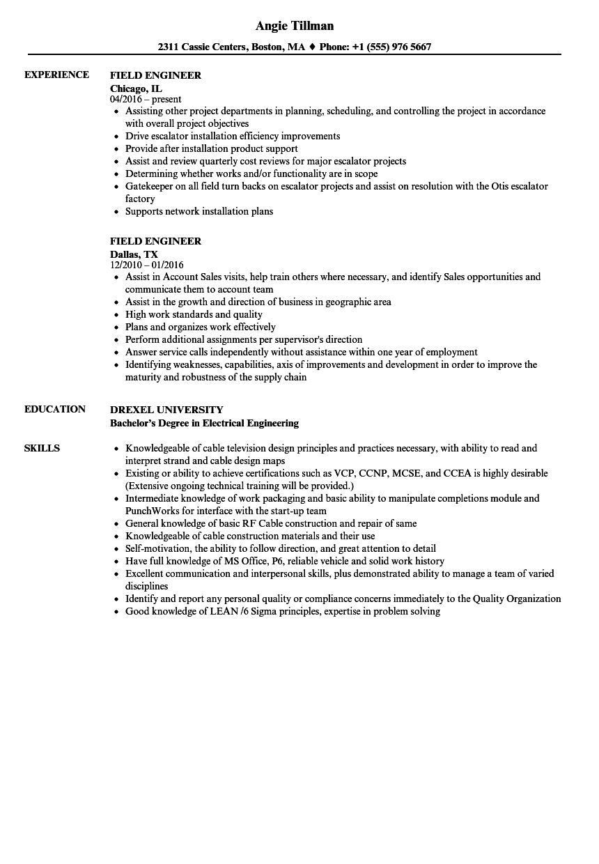 sample resume in construction field
