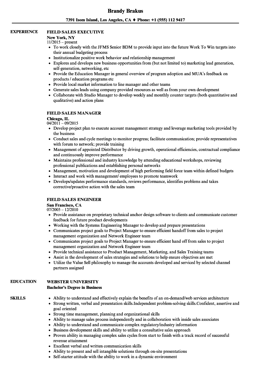 field sales manager resume sample