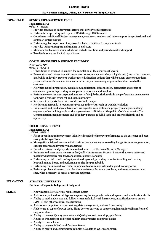 field service technician resume examples