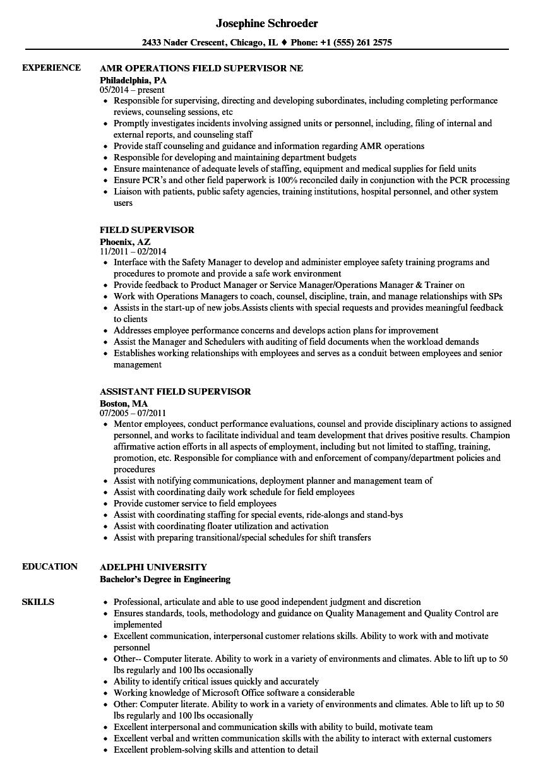 field supervisor resume examples