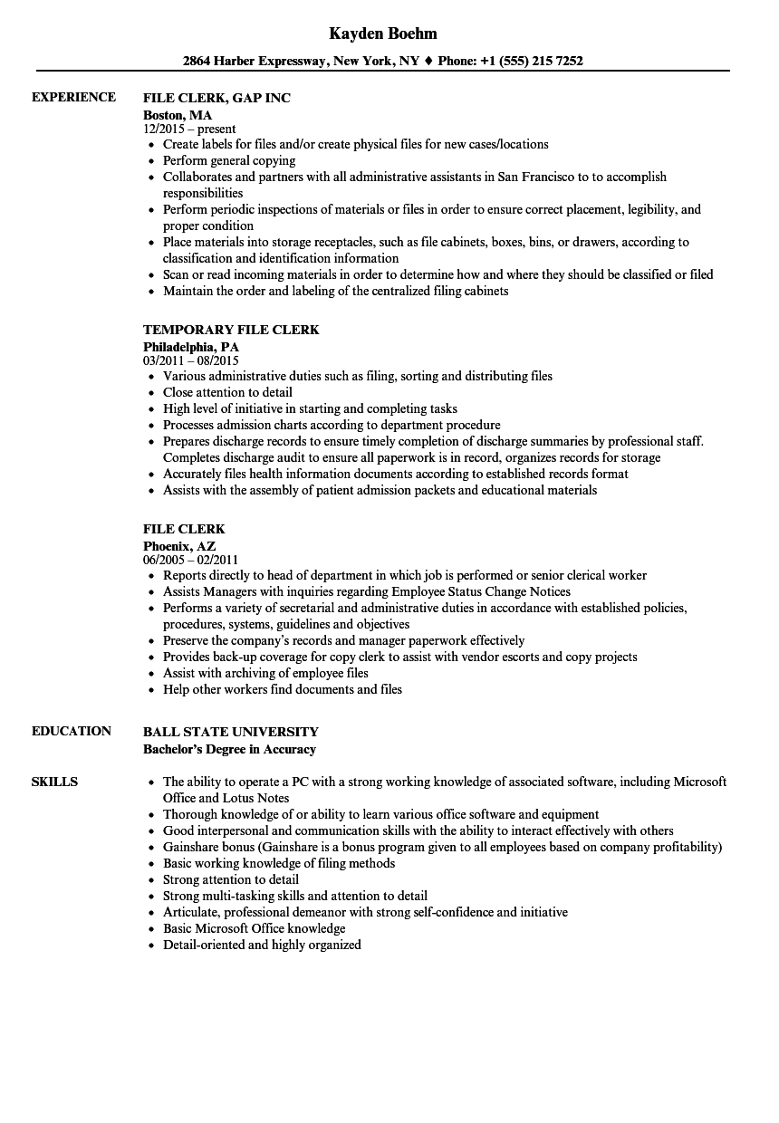 file clerk resume