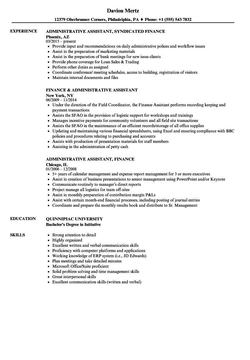college administrative assistant resume sample
