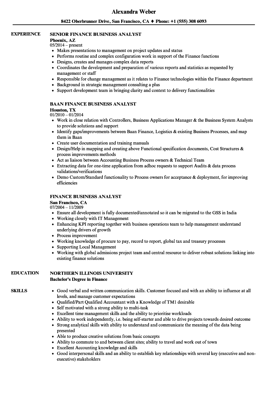 finance experience resume sample