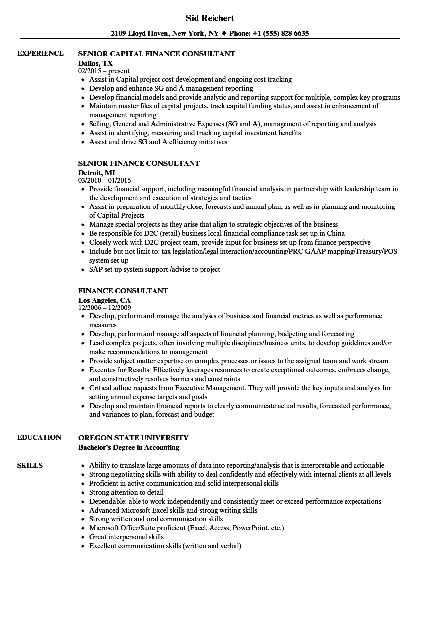 sample resume for finance