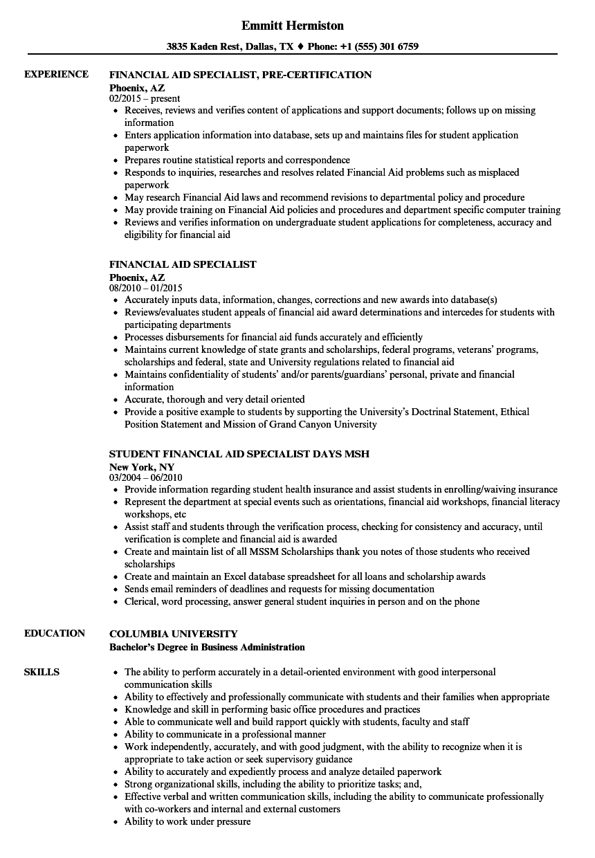 sample resume for financial aid officer