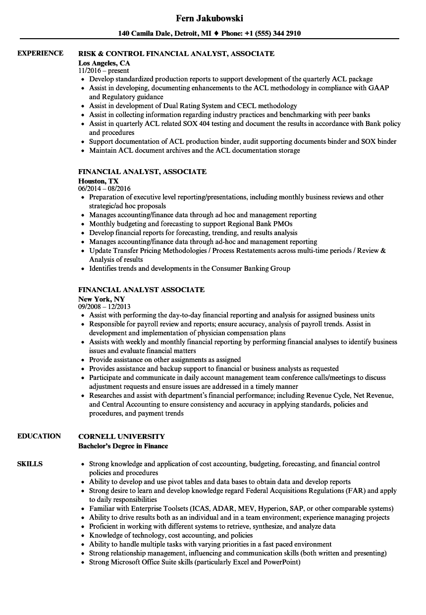financial management analyst resume sample