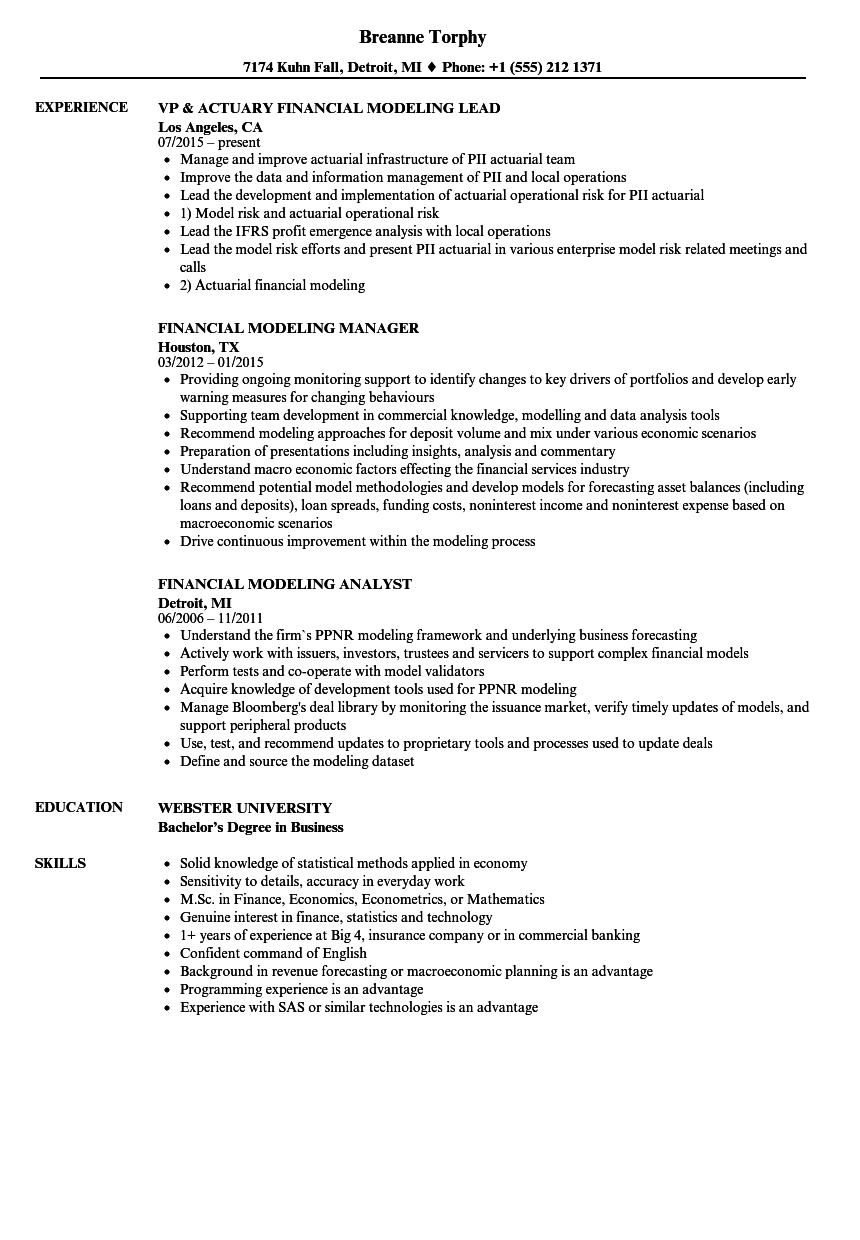 financial modeling examples in resumes