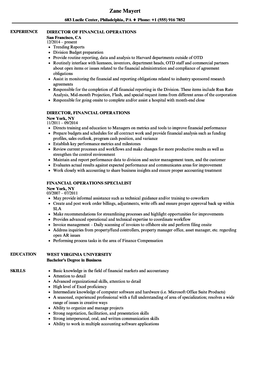 financial operations analyst resume sample