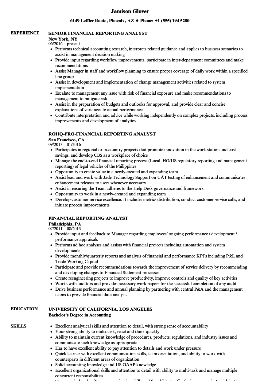 sample financial reporting manager resume