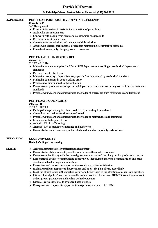 float pool nurse resume sample