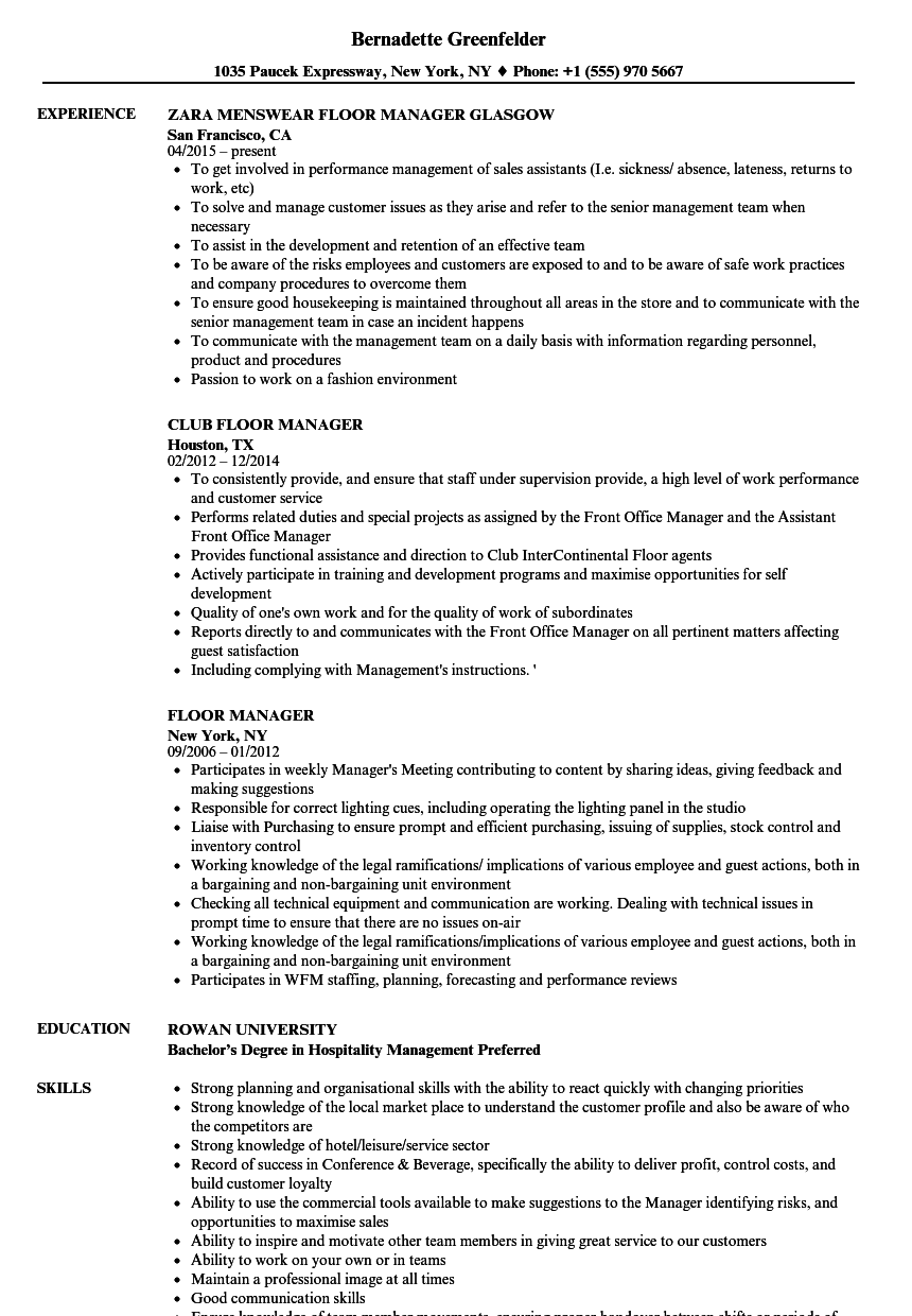 Floor Manager Resume Samples Velvet Jobs