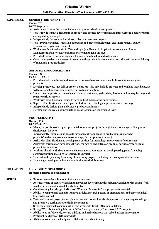 food scientist sample resume