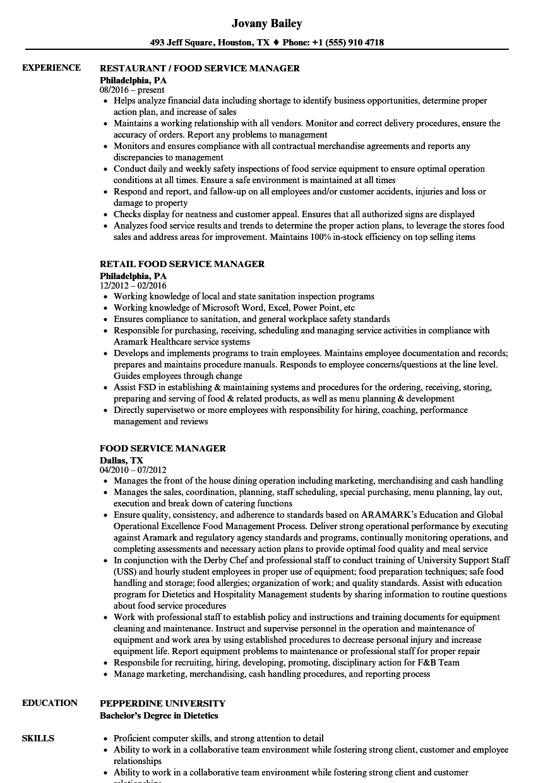 government food service supervisor resume sample