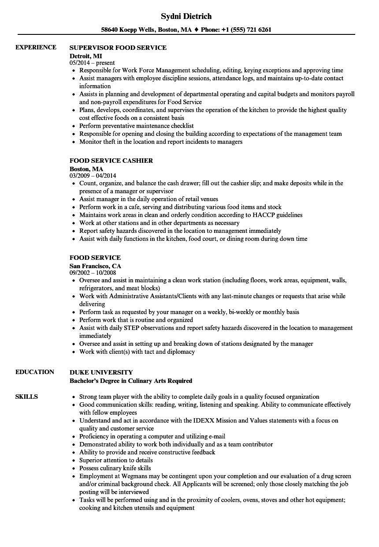 food service supervisor sample resume