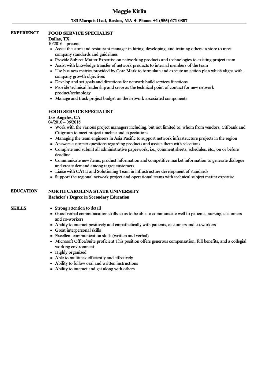 culinary specialist resume sample