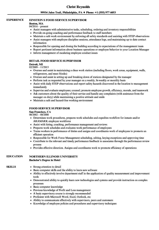 resume examples supervisor skills