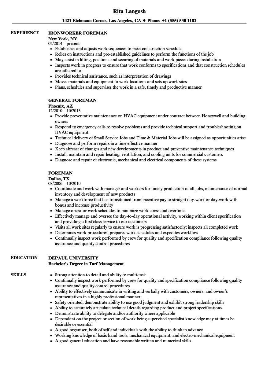 utilities resume sample