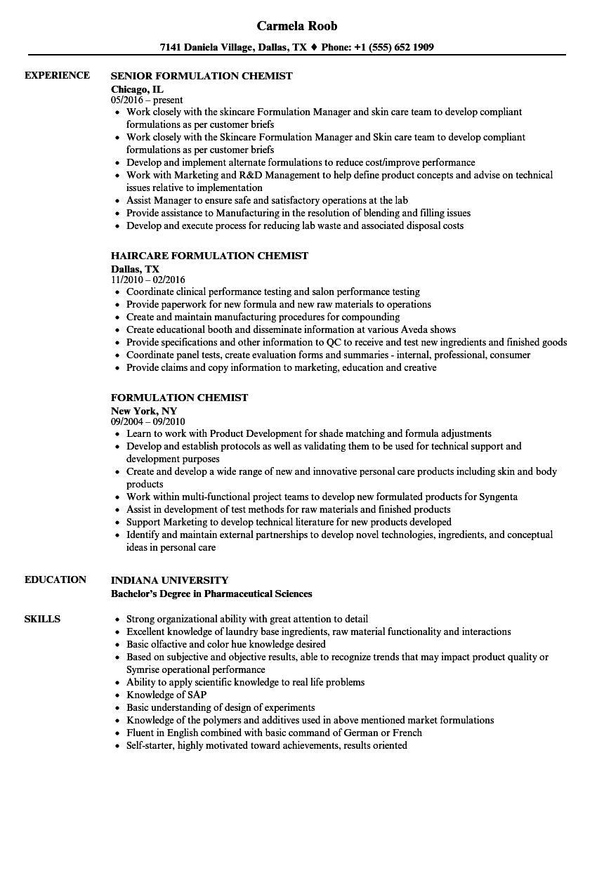 sample resume for a chemist