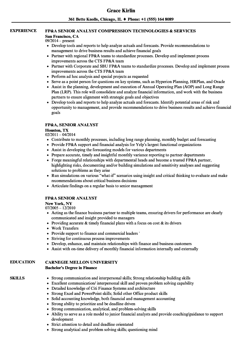 resume examples fp a