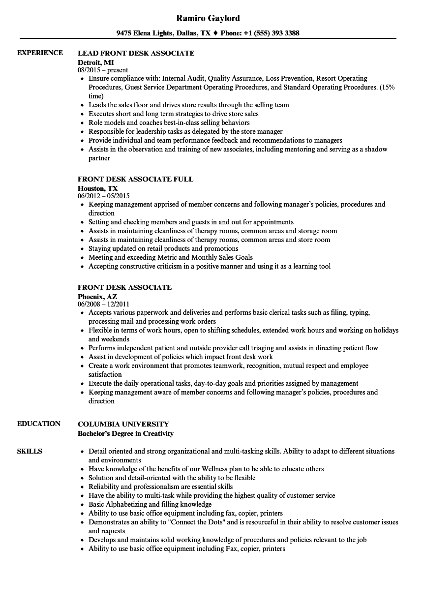 front desk supervisor sample resume