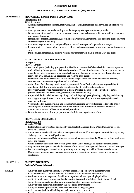 front desk attendant resume sample