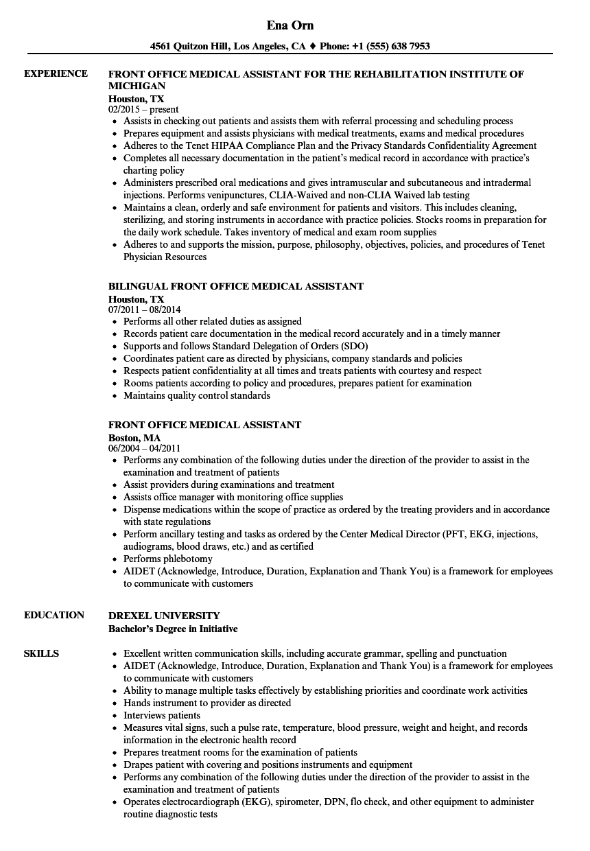 resume for medical assistant front office