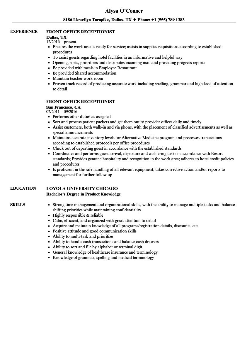 sample resume for front office receptionist