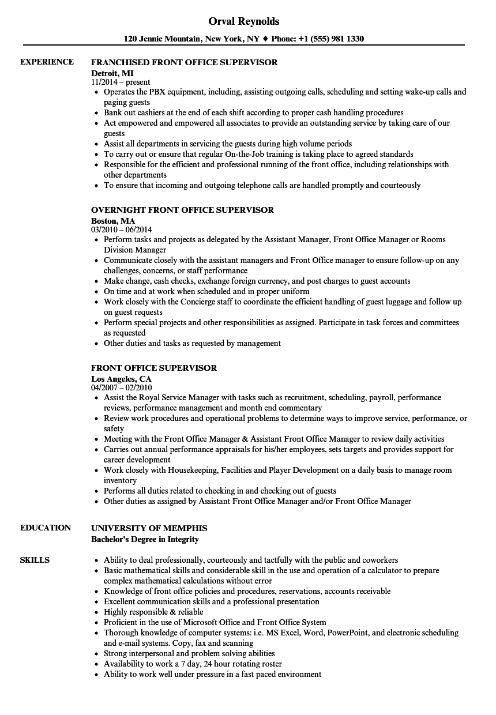 hotel front desk supervisor resume examples