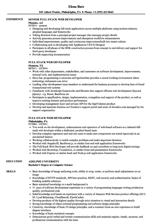 full stack developer resume