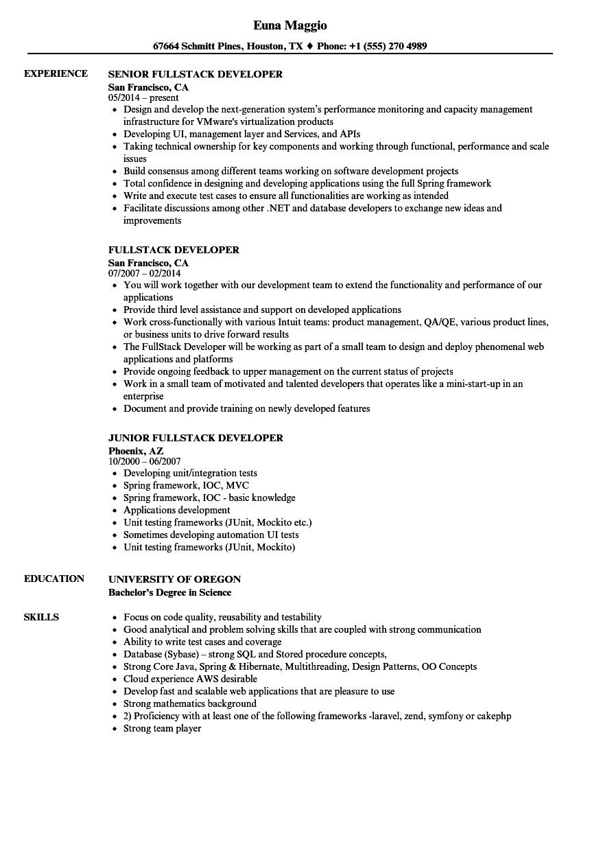 web fullstack developer resume sample