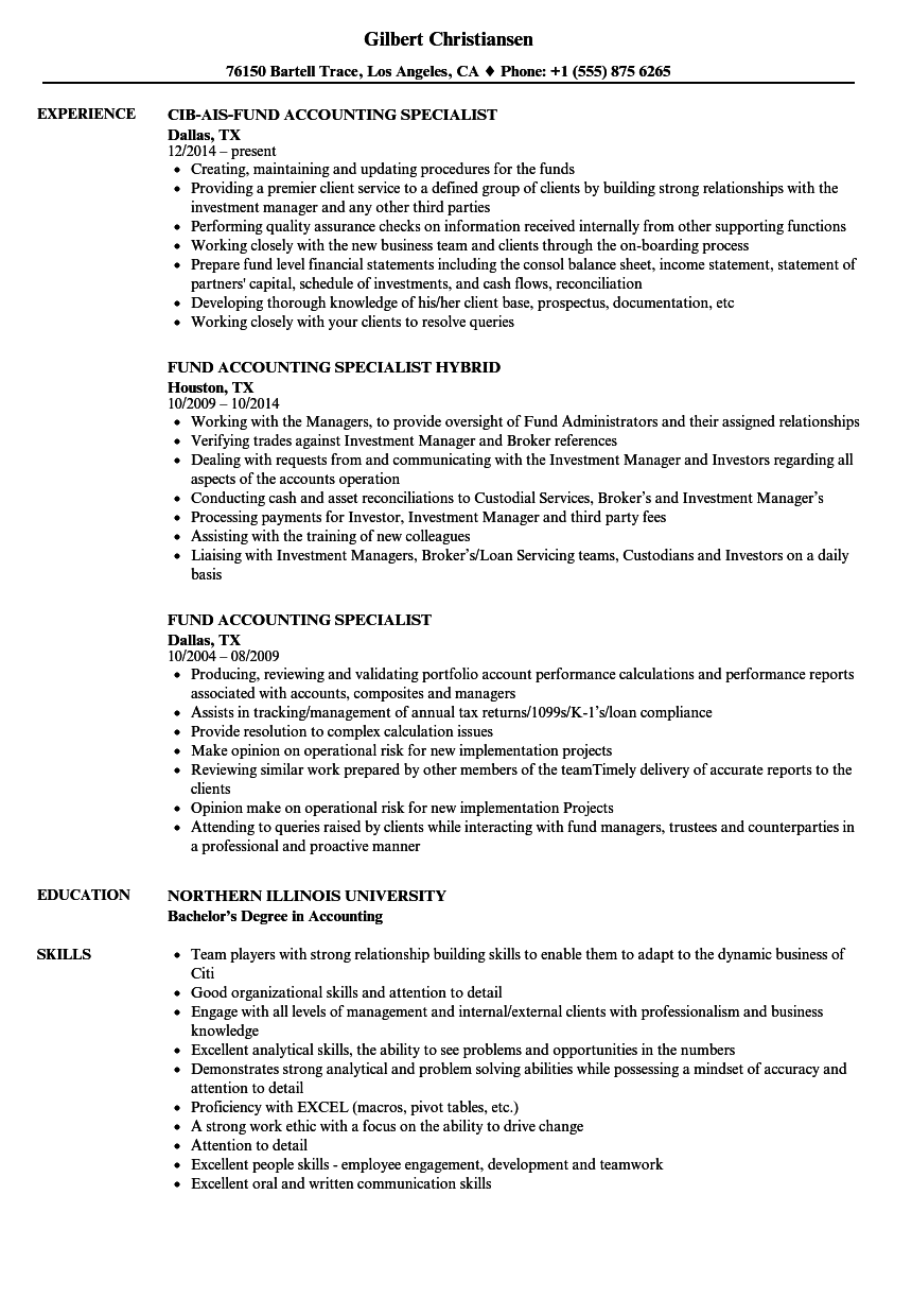 resume sample for accounting support