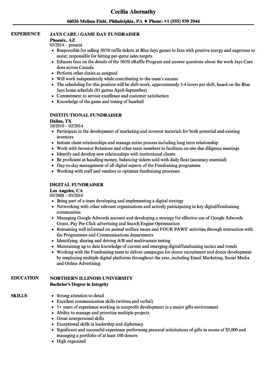 fundraiser coordinator resume sample