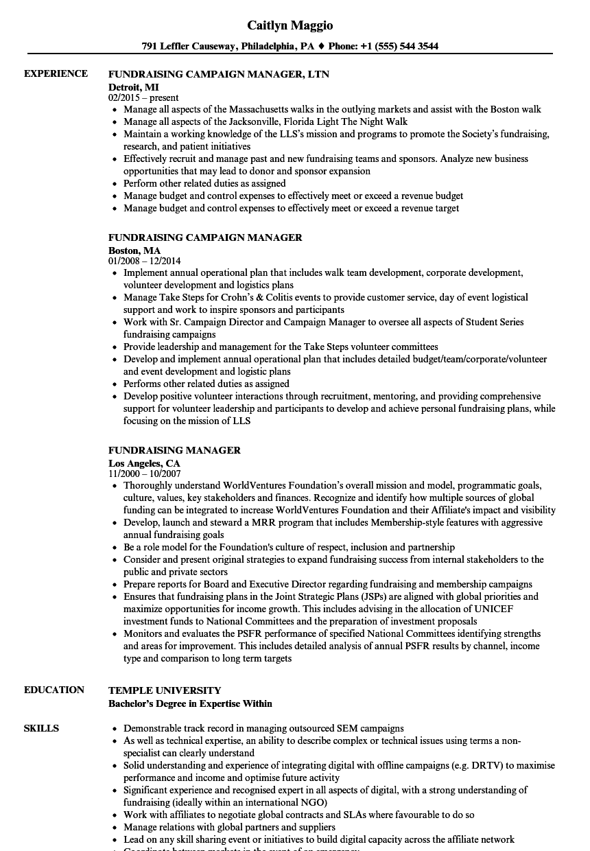 fundraising manager resume sample