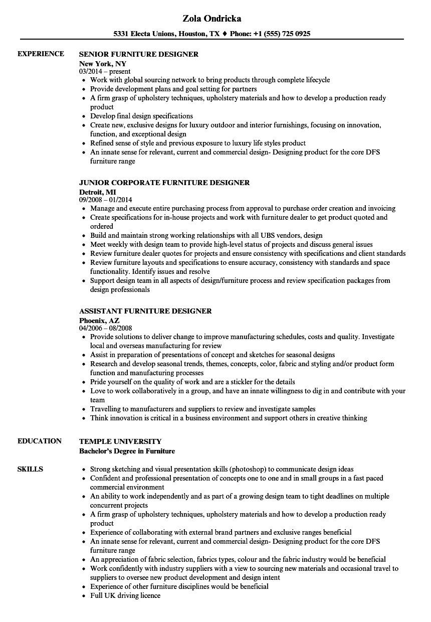 sample resume for designer jobs